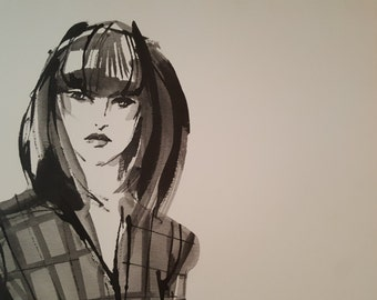 Anne Tavoletti Fashion Drawing on Canvas - Print - Vogue Plaid Jacket - Stretched Canvas - Floating Frame - 21 3/4 x 31 3/4 Inches