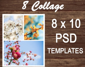 Photo templates, PSD Template, Photo Collage 8x10, Photoshop template, Digital Collage, Storyboard, Photographers, Blog Board Templates 002