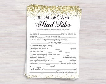 Bridal Shower Mad Libs, Funny Bridal Shower games, Gold confetti Shower ideas, Bachelorette, Wedding Shower Activity, Bridal Advice, Madlibs
