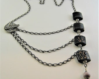 Necklace - Set of 4 moss agate pillow lampwork beads on gunmetal chain - 040-15W5