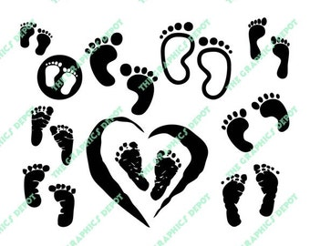 Baby Footprints Silhouettes Instant Download - SVG & EPS files - Cut Files - Digital Clipart - Vector Graphics - Cricut - Silhouette Cameo