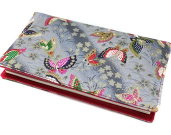 Fabric checkbook Japanese gray and pink butterflies