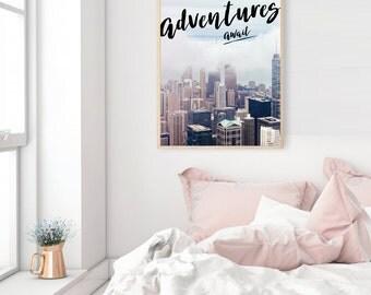 ADVENTURES AWAIT photography typography wall art print