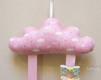 Hair bow holder, Hair bow organizer- Pink cloud print cushion S