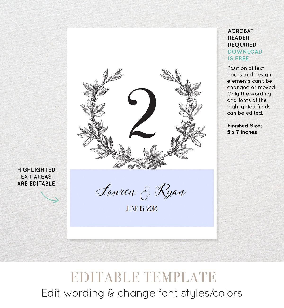 printable wedding table number card vintage wreath editable. Black Bedroom Furniture Sets. Home Design Ideas