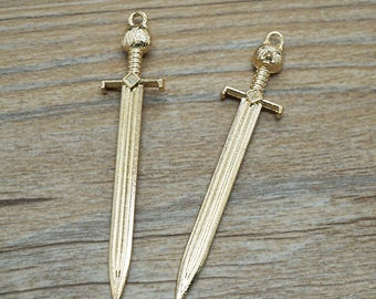 10pcs Antique gold kitty sword Pendants for Necklace / accessory DIY 67 mm x 14 mm (507-67)