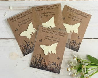 10 Plantable Wildflower Seed Paper Butterfly Favours - Funeral Favour, Remembrance, Memorial, Condolence, Celebration of Life