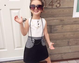 Audrey Hepburn Inspired Toddler Dress | Black and White Toddler Dress | Toddler Pocket Dress | Audrey Girl Dress | Elegant Toddler Dress