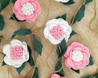 Baby girl Garland - nursery bunting Nursery felt flowers - baby shower - baby - nursery decor - floral - nursery wall hanging