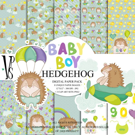 HEDGEHOG Digital Paper Pack Instant Download Printable Hot Air Balloon Jeep Baby Boy Nursery Baby Shower Boy Toy Blue Green ClipArt 12x12