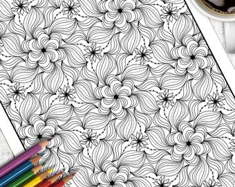Adult Colouring Page Swirl Pattern