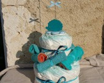 Diaper with washable wipes + door-photo blue hedgehog cake