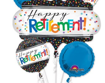 18' happy retirement balloon, happy retirement party decoration, retirement event