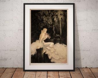 Louis Icart Orchids, Art deco Wall Art, Framed print, PP022