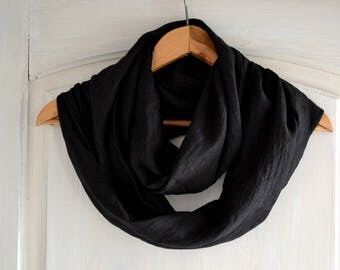 Black Infinity Scarf, Linen Scarf, Linen Infinity Scarf, Summer Scarves, Flax Scarf, Lightweight Scarf, Women's Scarves, Organic Scarf