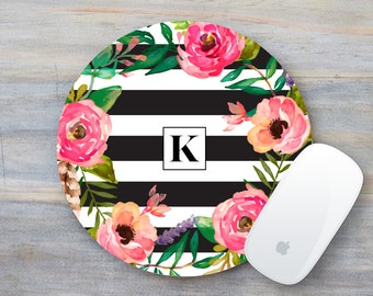Floral Mouse Pad, Floral Mousepad, Monogram Mouse Pad, Monogram Mousepad, Coworker Gift, Boss Lady, Boss gift, Office Decor, Mousepad