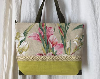 Adelia Collection - Upcycling - linen lace and leather handbag