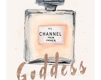 Channel your Inner Goddess' art print with glitter effect typography