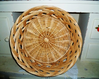Free Shipping!!!   Old wooden basket woven wicke/