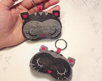 Cat kitten grey melange, felt Keychain Keychain, felt, felt Keychain, kawaii kawaii animals, animals
