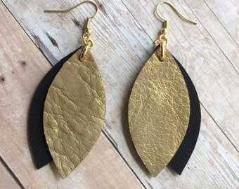 Leaf leather earrings, double leaf black and gold leather earrings, gold and black leather earrings