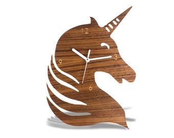 Animal Modern Wooden Unicorn Wall Clock