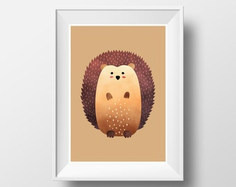 "POSTER. Printable A3 Brown Poster ""Hedgehog"" for Children Rooms. Instant download PDF."