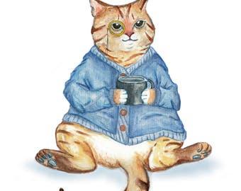 Blue Knit Sweater Cat with mug  - Unique Original Illustration - Wall Art Print - Poster