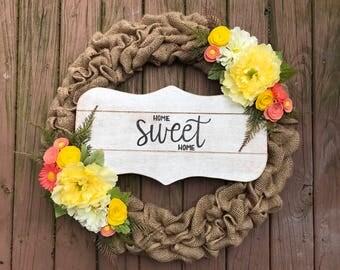 Burlap wreath / Front Door Wreath / Front Door Decor / Home Decor / Welcome Wreath / Wreath / Wood Sign