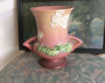 Vintage Roseville Primrose Vase, Two Handled, Original Sticker and Marked on Bottom