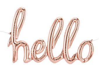 Hello script Rose Gold Balloon   cake table wedding photo prop decorations balloons birthday party graduation bridal shower baby shower