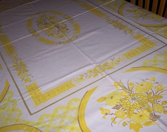The Ryans cute floral vintage tablecloth bright yellow