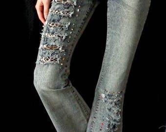 Handmade Custom Boho Jeans / Gypsy Jeans / Hippie Jeans / Bohemian Jeans / Women's Jeans / Girl's Jeans
