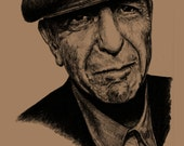 Leonard Cohen: A3 -Print - Hand Drawn Portrait signed by Artist - (Black on Sepia Card or Sepia on Cartridge Paper)