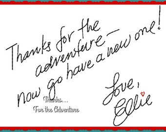 Thanks For The Adventure Wording Carl and Ellie from Up Digital Embroidery Machine Applique Design File 4x4 5x7 6x10