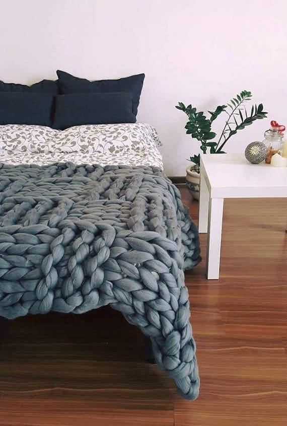 klobige decke merino werfen chunky strick decke riesen zu. Black Bedroom Furniture Sets. Home Design Ideas