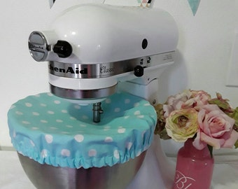 Stand Mixer Bowl Cover/kitchenaid/sunbeam/mixmaster/blue and white polka dots