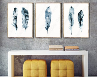 Feather Watercolor Art Prints - Set of 3 Feather Wall Decor Housewarming Gift Birthday Gift Wall Hanging