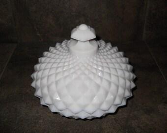 Milk Glass Butter Dish Westmoreland Diamond Cut Hobnail