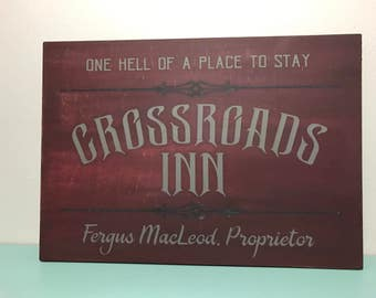 Vintage Style Hand Painted Supernatural Crowley Sign/ Nerd Decor/ Geek Chic