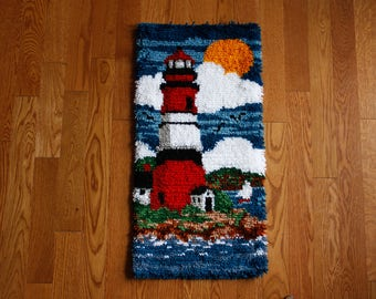 Lighthouse latch hook rug, wall hanging