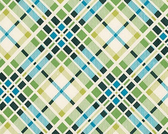 Clearsnce sale!! 1 Yard Denyse Schmidt Florence Multi Plaid Malachite, Blue Green Plaid Fabric,  Blue Plaid Cotton, PWDS053.MALAC