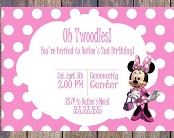 Minnie Mouse - Twoodles 2nd Birthday Invitation - Pink - Printable