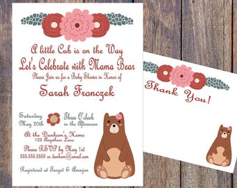 Mama Bear Baby Shower Invitation and Thank You Package - Printable - Personalized