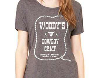 Disney Shirts Ladies Slouchy Tee Toy Story Shirt Woodys Cowboy camp shirt Pixar Shirt Disneyland Shirt Disney World Shirt Magic Kingdom