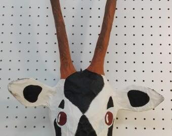 Silvestre, paper mache oryx head. Savanna creature, majestic wall decor.