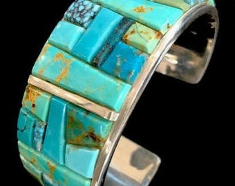 Native American Sterling Silver Corn Inlay Turquoise Bracelet Yazzie