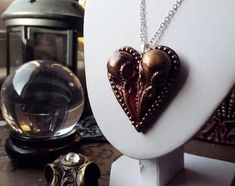 The Lovebirds Pendant, Valentines Raven Skull Necklace