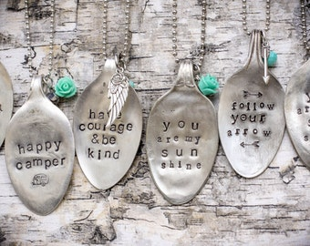 Spoon Necklace/ Stamped Spoon Jewelry