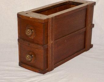 Double sewing machine drawers,Vintage ornate knobs,stacked sewing machine drawers,oak color, sewing storage,kitchen, office, bath